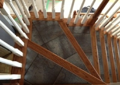 Wood Nosings on Tile Staircase