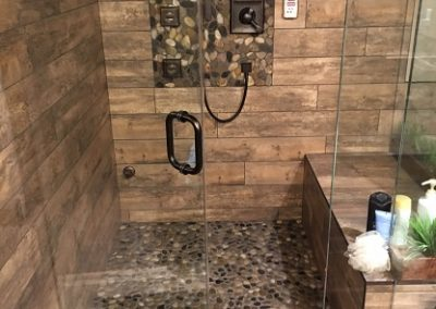 Tile & Pebble Shower